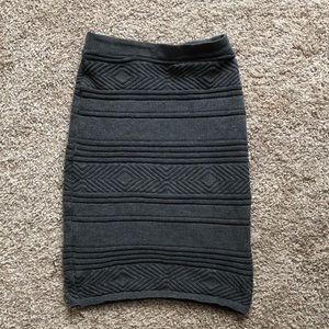 Grey knit pencil skirt
